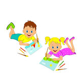 Boy and girl drawing Royalty Free Stock Image