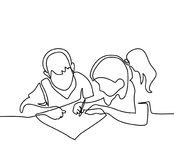 Boy and girl drawing on paper Stock Photos
