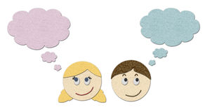Boy and girl dreaming. Set of illustrations of boy and girl dreaming or thinking Royalty Free Stock Image