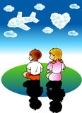Boy & girl dreams. A vector illustration for a boy & a girl's dreams: clouds becomes a airplane and love Royalty Free Stock Photo