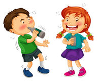 Boy and girl drinking alcohol Stock Images