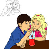 Boy and girl drinks Stock Photo
