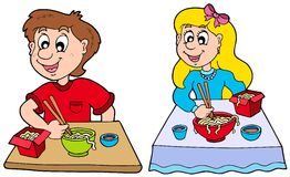 Boy and girl eating Chinese food. Illustration Stock Images