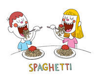 Boy and girl eating spaghetti royalty free illustration