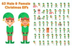 Boy And Girl Elf Characters Christmas Santa Claus Helper in Different Poses and Actions Teen Icons Set New Year Gift Stock Photos
