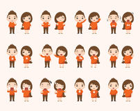 Boy and girl emotion characters Stock Photo