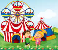 Boy and girl enjoying circus Stock Photo