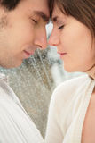 Boy with  girl face to face Stock Images