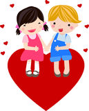 Boy and girl fall in love Stock Images