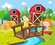 Boy and girl in the farmyard. Illustration Stock Image