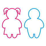 Boy and girl figures pink and blue icons. Simple shaped basic blue boy and pink girl outline icon. Vector Stock Images