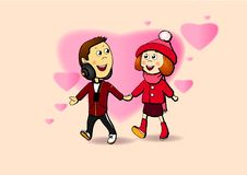 A BOY AND A GIRL.FIRST LOVE. Girl and boy holding hands.the picture is a slight nostalgia for youth and first love stock illustration