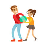 Boy And Girl Fist Fight Positions, Aggressive Bully In Long Sleeve Red Top Fighting Another Kid Taking Away A Ball. Flat Vector Teenage Aggression And Conflict Royalty Free Stock Images