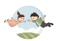 Boy and girl in flight Stock Photo