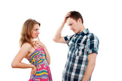 Boy and girl flirt Stock Photos