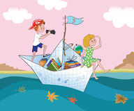 The boy and the girl float by a paper ship. Illustration Royalty Free Stock Images