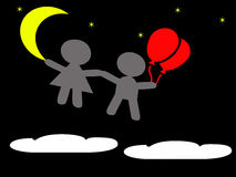 Boy and girl floating in the sky at night Royalty Free Stock Photography