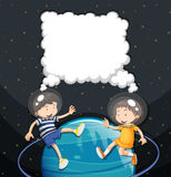 Boy and girl floating in the space Royalty Free Stock Photo