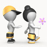 Boy and girl with flower 3D illustration Royalty Free Stock Photography