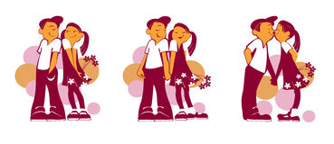 Boy and girl with flowers. The boy and the girl represented in different situations Stock Photo