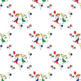 A boy and a girl with flowers and balloons Seamless pattern. Stock Photos