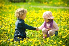 Boy and girl in flowers Stock Photography