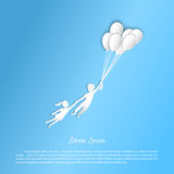 Boy and girl flying with balloons. Figures from the paper Royalty Free Stock Photos