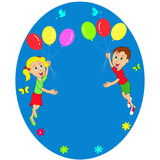 Boy and girl flying in balloons Royalty Free Stock Photo