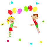 Boy and girl flying in balloons Stock Photography