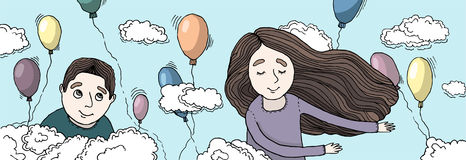 Boy and girl flying in the clouds. Balloons flying around. Many multi-colored balloons Royalty Free Stock Image