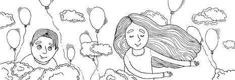 Boy and girl flying in the clouds. Balloons flying around. Many multi-colored balloons Royalty Free Stock Photo