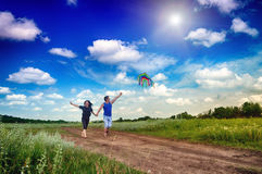Boy and girl flying a kite in a field Stock Images