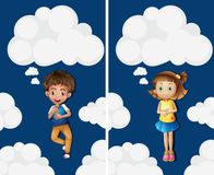 Boy and girl flying in the sky Royalty Free Stock Photos