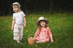 Boy and girl in the forest. Little boy and girl on the grass in the forest Stock Photos