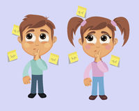 Boy and Girl with Forgetfulness Symptom stock illustration