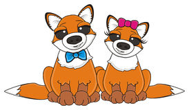 Boy and girl of foxes. Two foxes with differents bows vector illustration