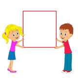 Boy,girl and frame Stock Images
