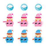 Boy and Girl Freezing and Cold. People in Winter Season with Snowing icons Stock Images