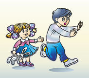 Boy and girl. The boy in fright runs away from the girl in a skirt and bows with a toy a gray hare Stock Images