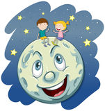 Boy and girl on the fullmoon Stock Image