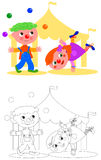 Boy and girl funny clown. Children clown jugging and circus tent, vector coloring illustration Stock Photos