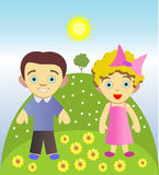 A boy and a girl. Funny little children playing in nature Royalty Free Stock Image