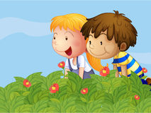 A boy and a girl in the garden Stock Photography