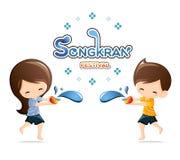 Boy&Girl genießen Spritzwasser in Songkran-Festival, Thailand Stockfoto