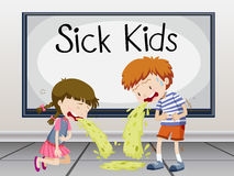 Boy and girl getting sick Royalty Free Stock Photo