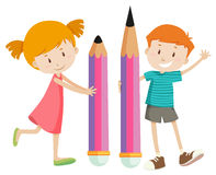 Boy and girl with giant pencils Stock Photo