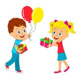 Boy and girl with gift and balloons. Kids,boy and girl with gift and balloons on a white background, illustration, vector Royalty Free Stock Photography