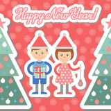Boy and girl with gifts decorate Christmas tree. Postcard. Royalty Free Stock Photography