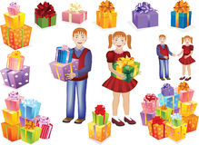 Boy and girl with gifts in their hands Royalty Free Stock Photo