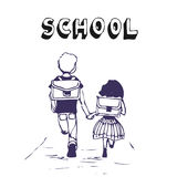 Boy and girl go to school Royalty Free Stock Photography